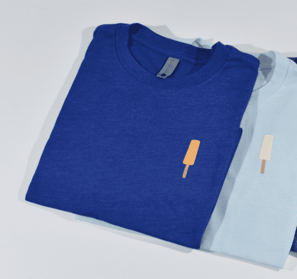 Royal blue orange ice cream bar t-shirt